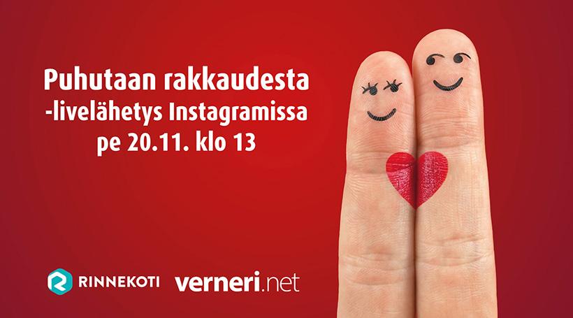 Puhutaan rakkaudesta -livelähetys Instagramissa pe 20.11. klo 13. Rinnekoti. Verneri.net