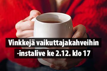Vinkkejä vaikuttajakahveihin -live Verneri.netin Instagramissa 2.12.