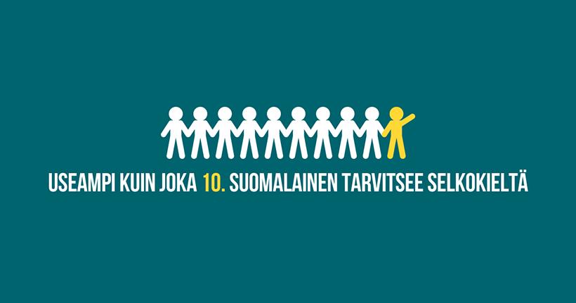 Useampi kuin joka 10. suomalainen tarvitsee selkokieltä