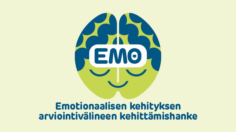EMO-hankkeen tunnuksessa on hymyilevät kasvot.