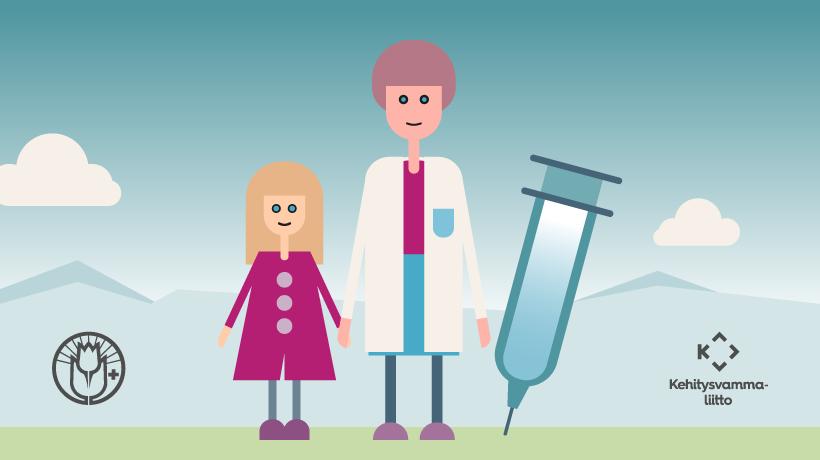 piirroskuva, jossa lapsi, lääkäri ja rokote