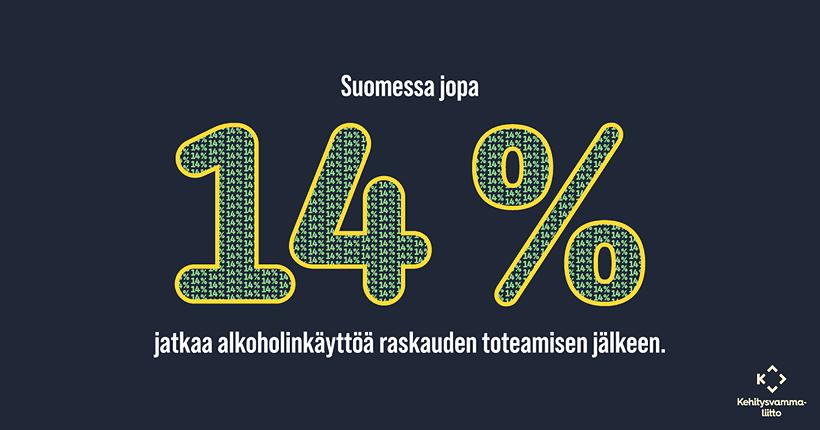 """""""Suomessa jopa 14 % jatkaa alkoholinkäyttöä raskauden toteamisen jälkeen."""""""