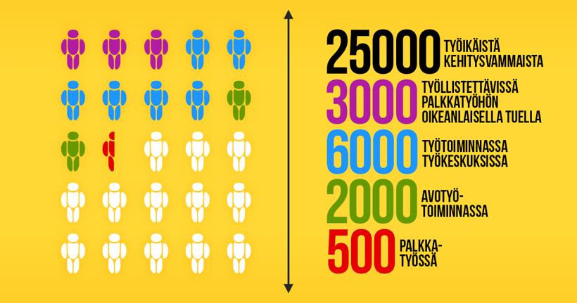tilastotietoa kehitysvammaisten työllistymisestä