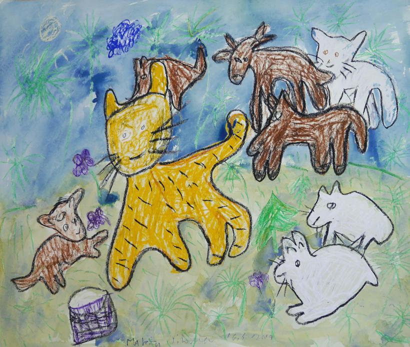 Maalaus, jossa on eläimiä
