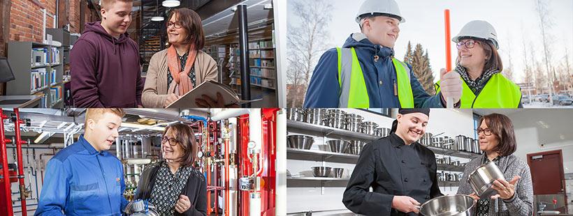 Neljä kuvaa nuoresta miehestä ja naisesta eri työtilanteissa.