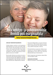Testamenttilahjoitus Kehitysvammaliitolle (2018) -esitteen kansi.